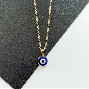 Dainty Blue Evil Eye Necklace - Solid Blue